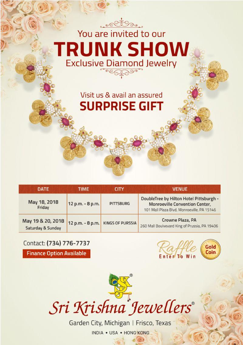 Sri Krishna Jewellers - Trunk Show in  Pennsylvania: Exclusive Diamond Jewelry