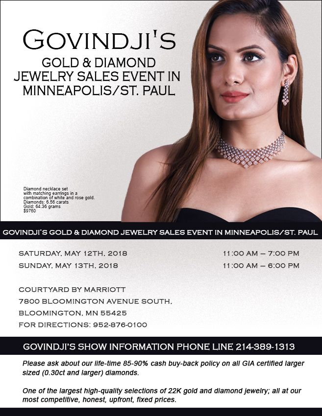 GOVINDJI'S Gold & Diamond Jewelry Sales Event in Minneapolis/St. Paul