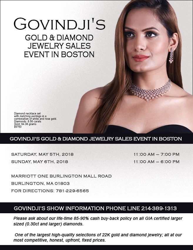 GOVINDJI'S Gold & Diamond Jewelry Sales Event in Boston