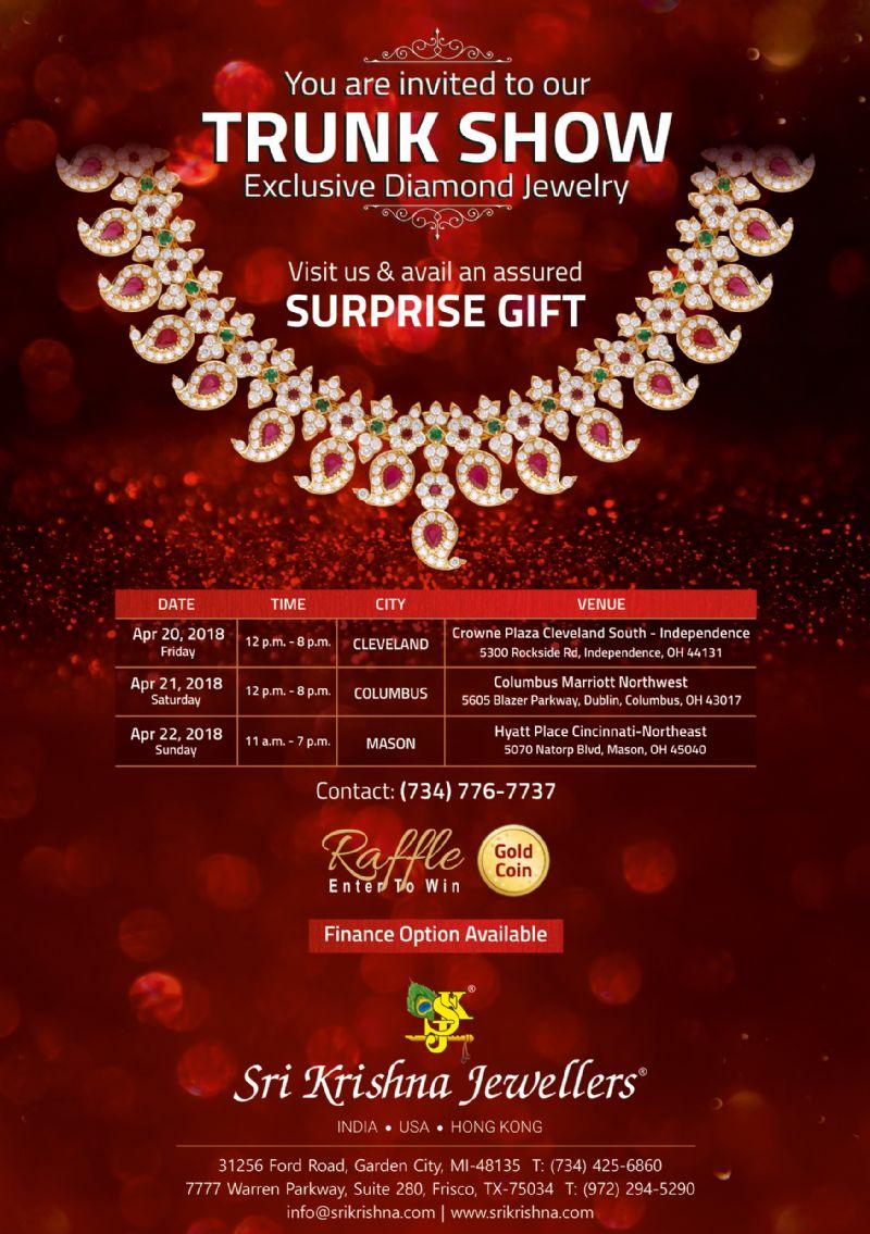 Sri Krishna Jewellers - Trunk Show in Ohio: Exclusive Diamond Jewelry