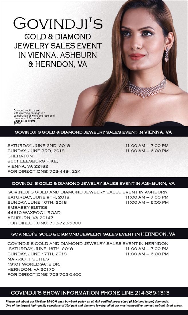 GOVINDJIS Gold and Diamond Jewelry Sales Event in Vienna, Ashburn and Herndon, VA